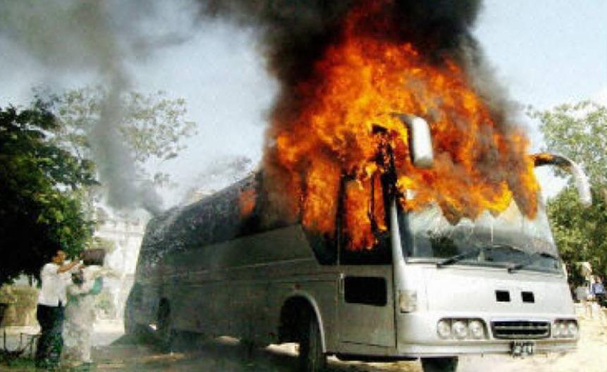 5 killed as bus catches fire near Khuzdar