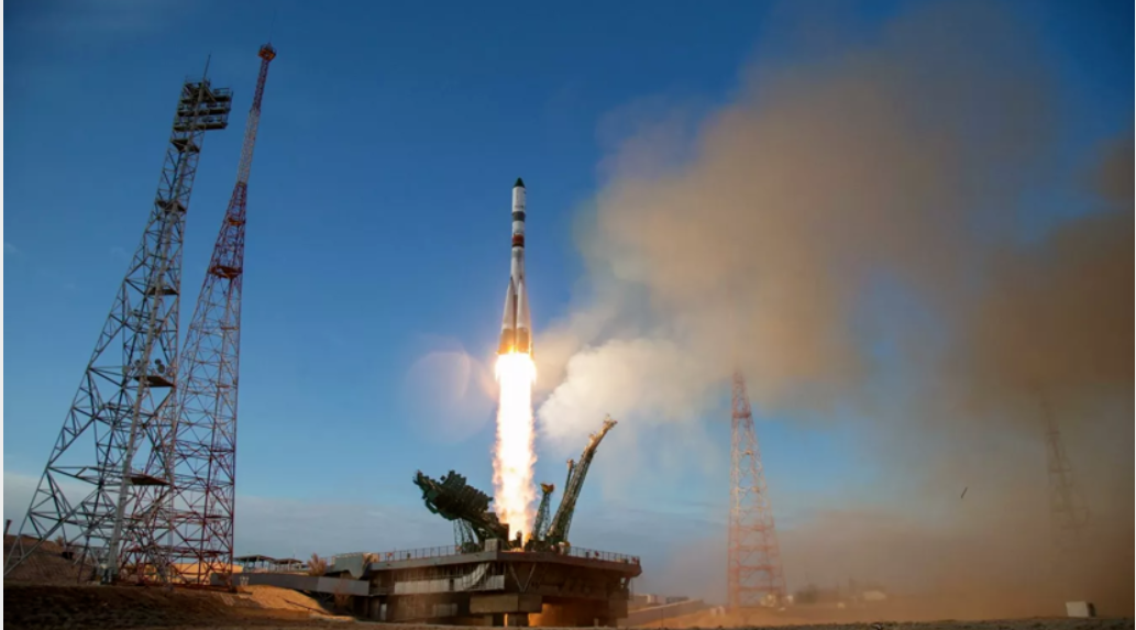 A Soyuz rocket with a manned spacecraft launched from Baikonur