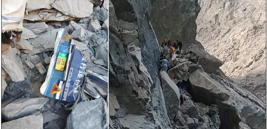 a mountain fell on a passenger van