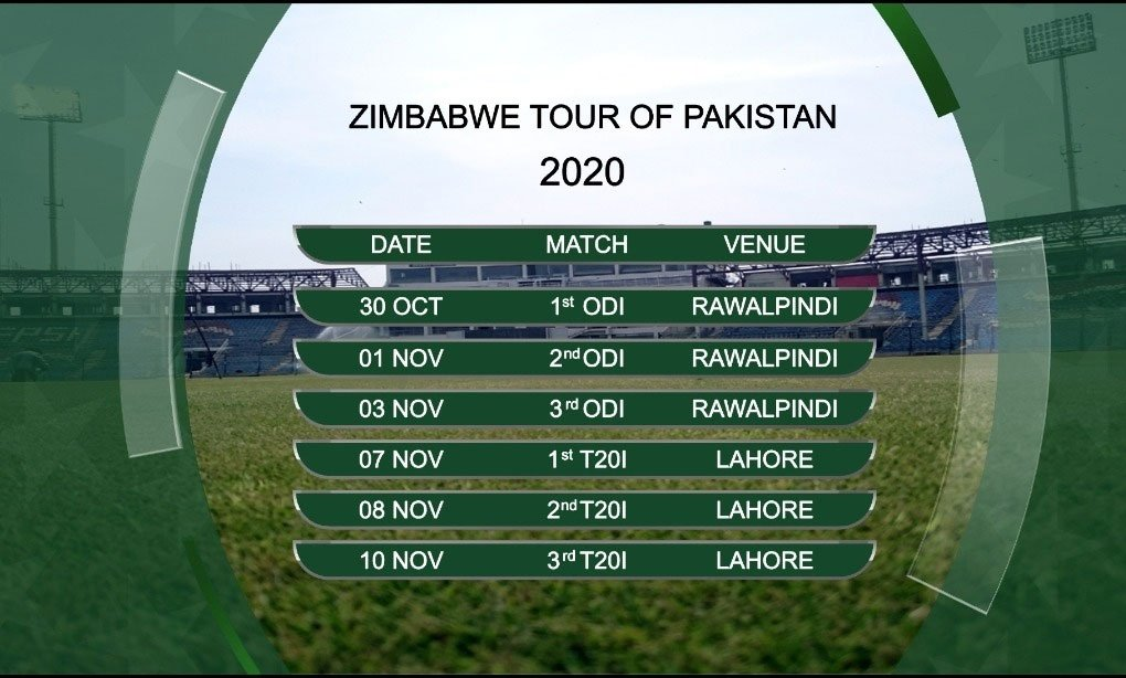 PCB releases new schedule for series against Zimbabwe