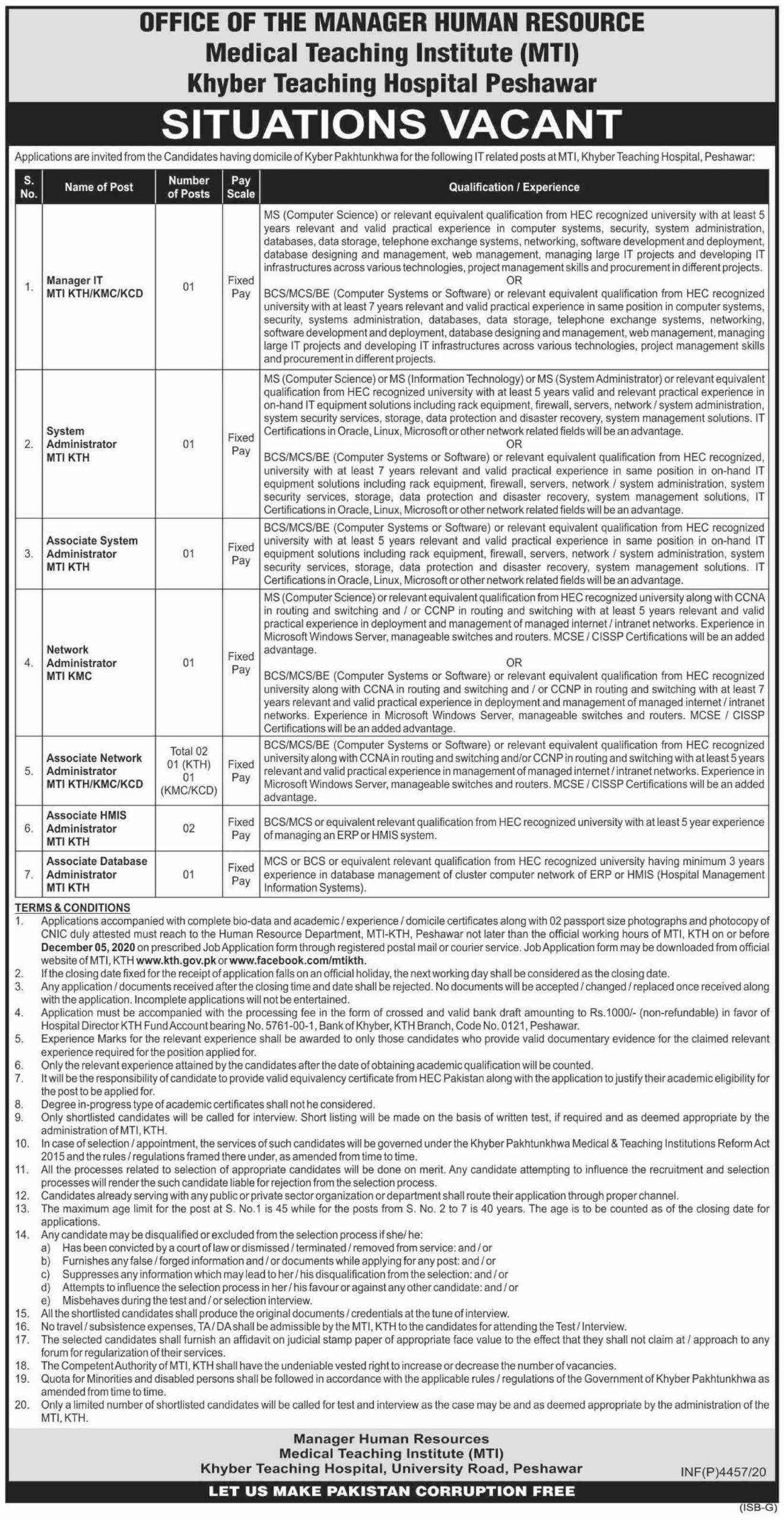Medical Teaching Institute (MTI) Khyber Teaching Hospital Peshawar Jobs 2020 for Manager IT