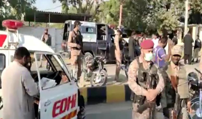 A grenade attack near Karachi University injured 3 including Rangers