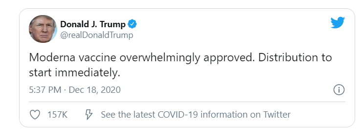President Trump has approved the use of the modern Corona vaccine