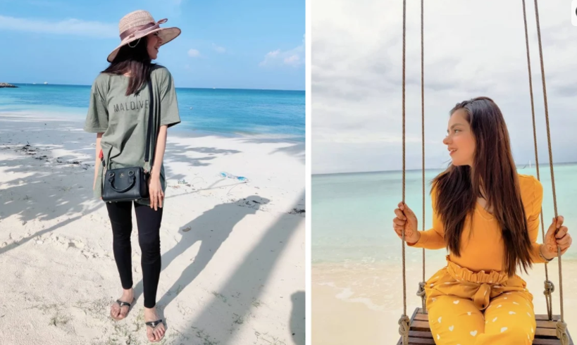 Actress Saraha Asghar arrived in Maldives to celebrate her honeymoon