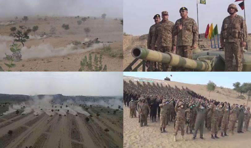 Army chief observes Jadar al-Hadid military exercise in Thar, appreciates war preparations