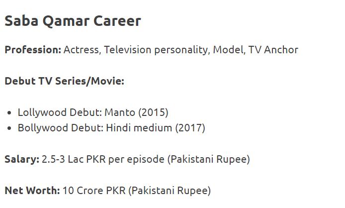 Saba Qamar Career